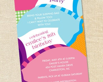 Sweet Wishes Sleeping Bag Slumber Party Invitations - PRINTED - Digital File Also Available