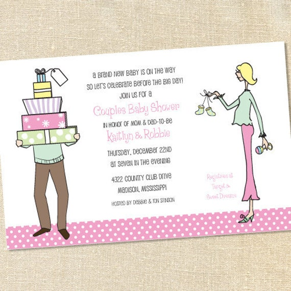 Sweet Wishes Mom And Dad Couples Baby Shower Invitations