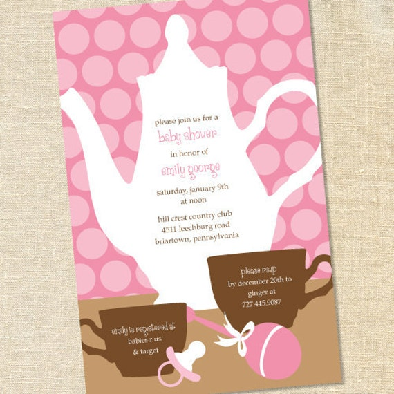 Sweet Wishes Pink Polka Dot Baby Girls Sip and See Invitations - PRINTED - Digital File Also Available
