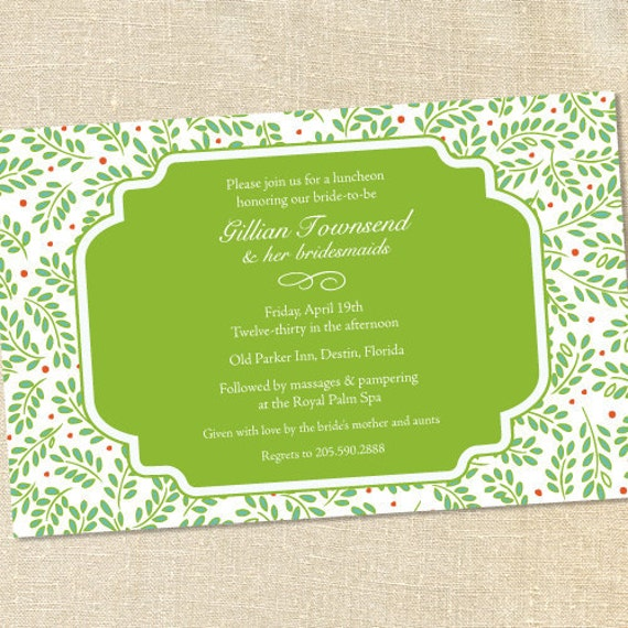 Sweet Wishes Lime Vines Garden Party Invitations - PRINTED - Digital File Also Available