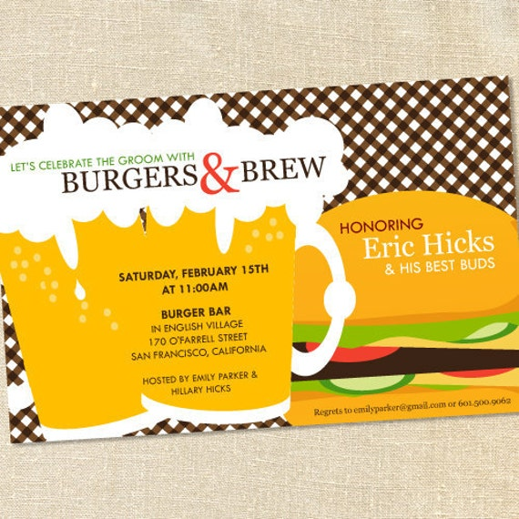 Sweet Wishes Burgers and Brew Invitations - PRINTED - Digital File Also Available