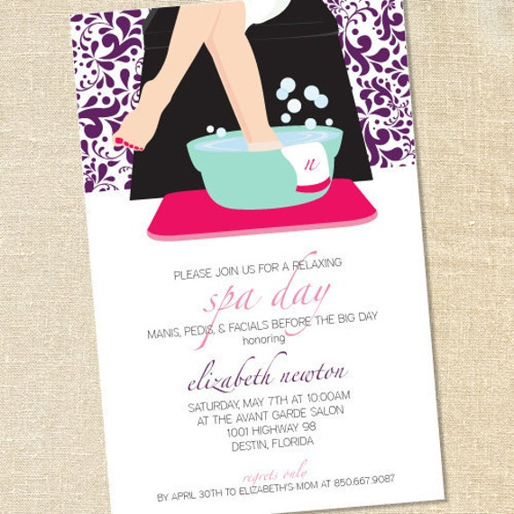 Sweet Wishes Spa Day Pedicure Party Invitations PRINTED – Spa Party Invitation Wording
