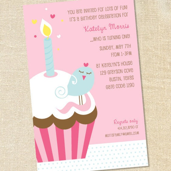 Sweet Wishes Girls First BIrd on a Cupcake Birthday Party Invitations - PRINTED - Digital File Also Available