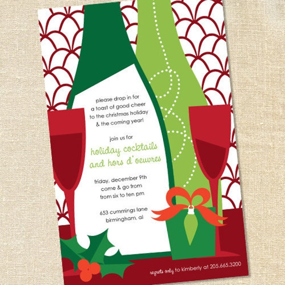 sweet wishes holiday wine tasting cocktail party invitations, Party invitations