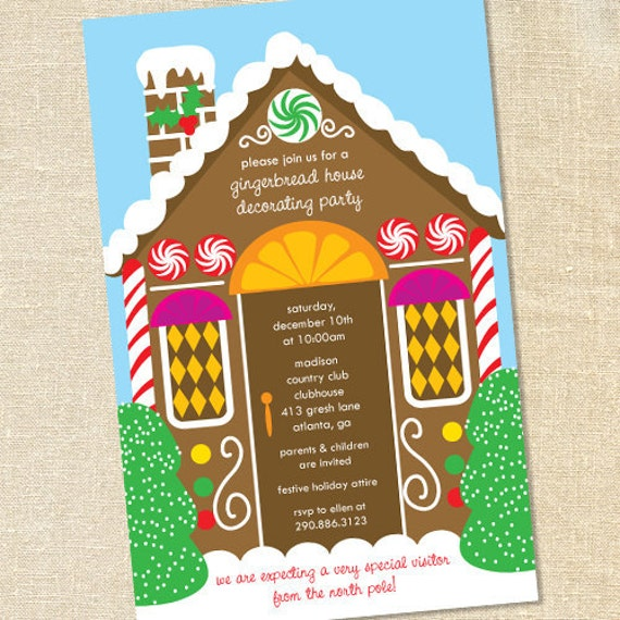 Sweet Wishes Gingerbread House Decorating Party Invitations – Gingerbread Party Invitations