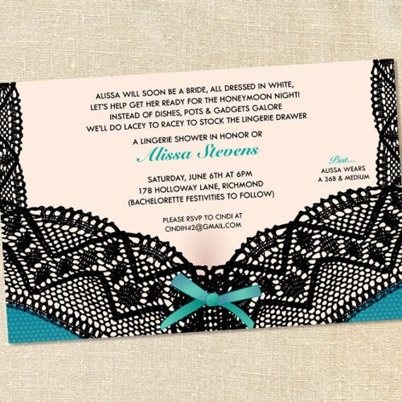 Sweet Wishes Turquoise Lace Lingerie Party Bachelorette Invitations - PRINTED - Digital File Also Available