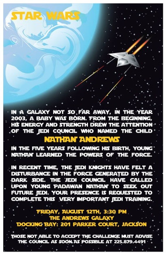 custom personalized star wars jedi birthday by