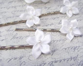 Tiny White Flower Hair Pins Set of 8 Fabric Pearl Bobby Pin Clip Bridal Bridesmaid Girl Satin Ribbon