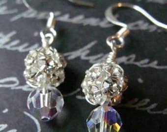 Rhinestone and Crystal Bead Earrings, Swarovski Crystal Dangle Earrings, Beaded Earrings, Bridesmaid Earrings, Bridal Earrings, Clear AB