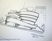 Sketch Series - Guggenheim Museum, New York City - Art Print (5 x 7)