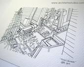 Sketch Series - Times Square, New York City - Art Print (5 x 7)
