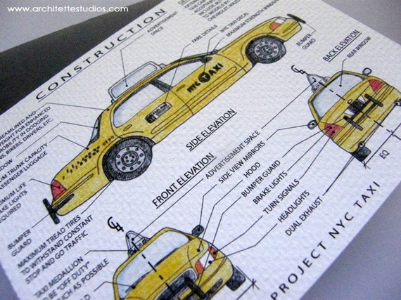Project New York City Taxi Cab - Blank Architecture Construction Card