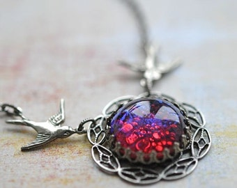 Opal Necklace - Fire in the Sky Necklace - Dragon's Breath Glass Opal with silver Filigree and Birds
