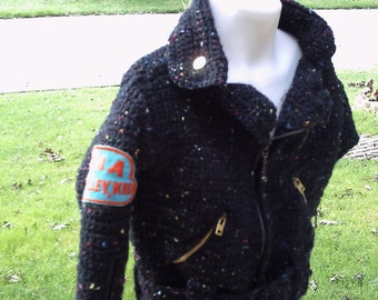 on SALE this week only Motorcycle  Crochet  Biker Jacket Toddler