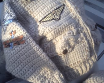 Bomber Baby Aviator Flight Jacket with matching helmet hat