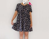 Rosebud a day - - black blue with pink daisy summer woven corset bow tie dress M L