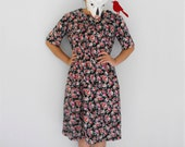 farmer market - - weekend floral black colorful flower shift knee length skater dress S M
