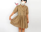 Ditsy Bitsy Rosey - - Lovely double breast military button pleat skirt frill skater dress L XL