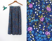 Vintage blue and purple ditsy tiny rose tailor maxi dressy lean skirt  M L