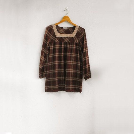 Plaid VS Lace - - Lovely preppy plaid tunic long blouse - - S M