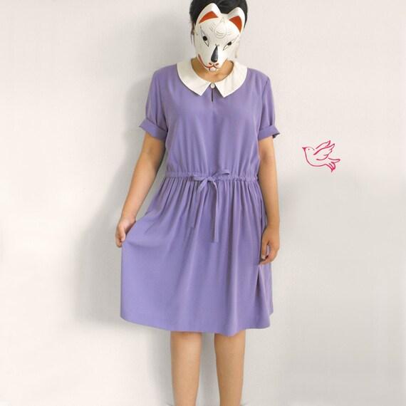 I wanna be wendy - - Peterpan collar purple drawstring mini dress L