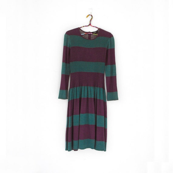 Contrast stripe - - Italy knit purple green sweater frill dress S M