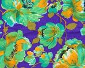 Vintage 1960s Purple Hawaiian Floral Fabric