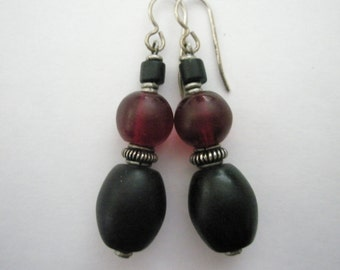 Handcrafted Trade Bead and Sterling Earrings