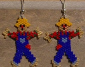 Reserved For Chariot Scarecrow Earrings Hand Made Seed Beaded