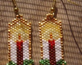 Christmas Candle Earrings Hand Made Seed Beaded