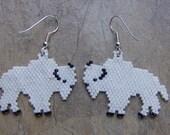 White Buffalo Earrings Hand Made Seed Beaded Native Inspired
