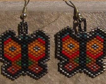 Butterfly Spirit Earrings Hand Made Seed Beaded