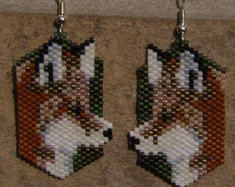 Red Fox Earrings Hand Made Seed Beaded