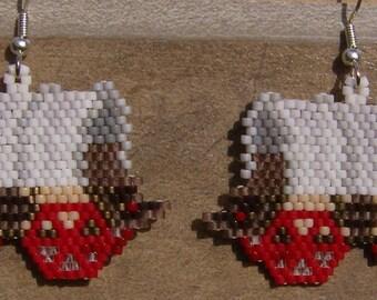 Covered Wagon Earrings Hand Made Seed Beaded