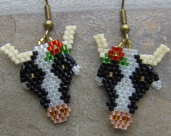 Cow Earrings Hand Made Seed Beaded