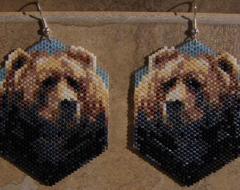 Reserved for Lynn Morin Native American Style Bear Earrings Hand Made Seed Beaded