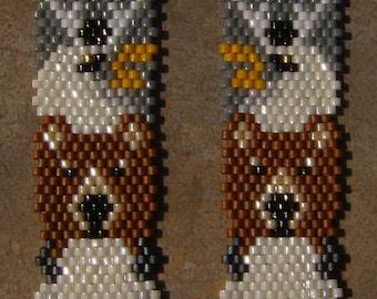 Native American Style Buffalo, Bear, Eagle, WolfTotem Pole Brick Stitch Seed Beaded Earrings