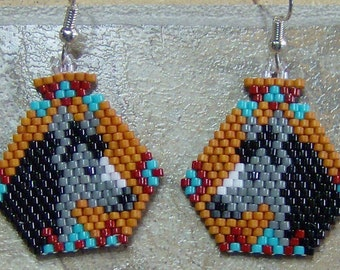 Horse Head Pottery Earrings Hand Made Seed Beaded