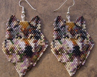 Native American Style Wolf Of Many Colors Earrings Hand Made Seed Beaded Native Inspired