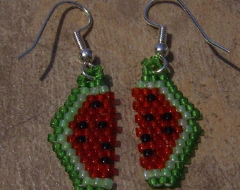 Water Melon Earrings Hand Made Seed Beaded