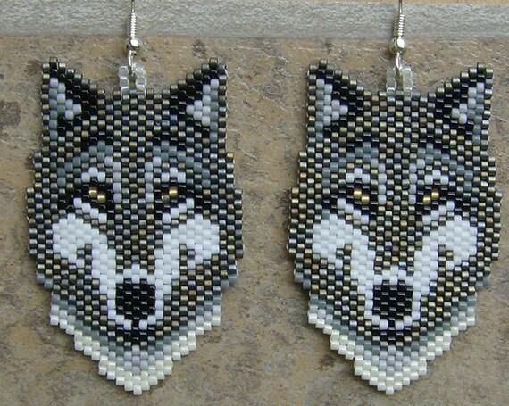 Native American Style Grey Wolf Earrings Hand Made Seed Beaded