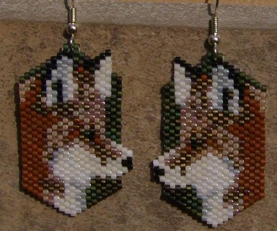 Red Fox Earrings Hand Made Seed Beaded