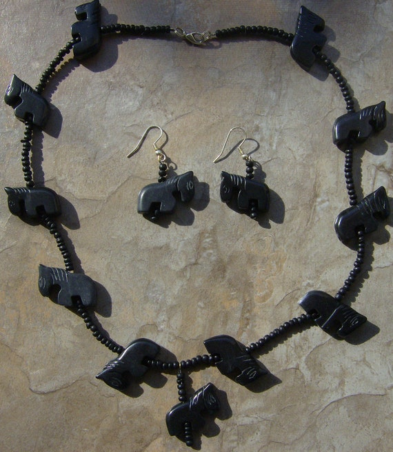 Horse Head Necklace And Earrings