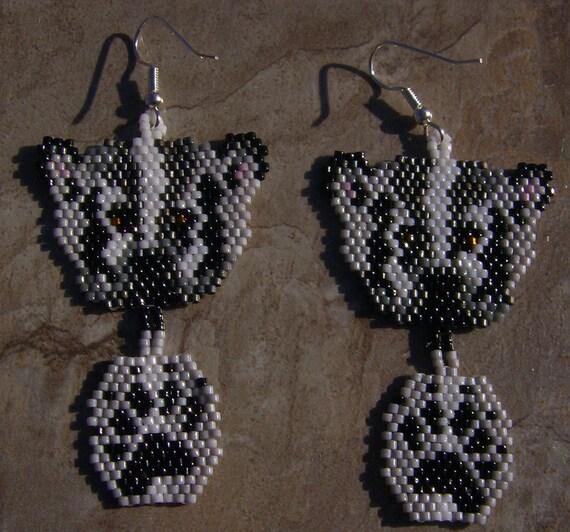 Badger Earrings Hand Made Seed Beaded