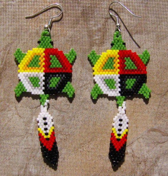 Delica D5 Four Wheel: Trutle Medicine Wheel Earrings Hand Made Seed Beaded By