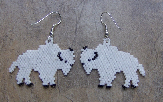 White Buffalo Earrings Hand Made Seed Beaded Native Inspired