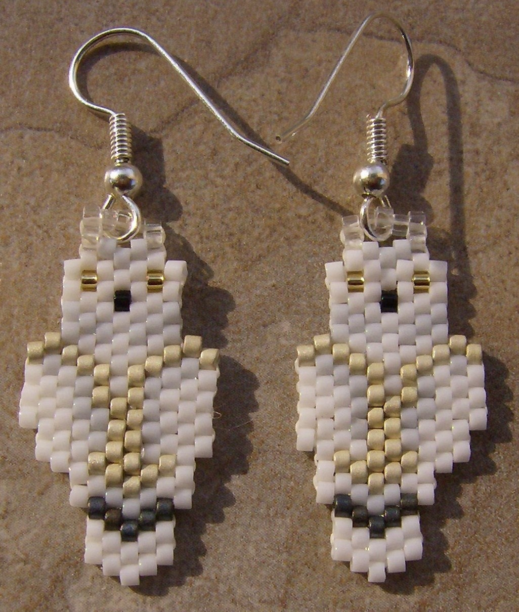 Snowy Owl Earrings Hand Made Seed Beaded