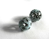 Torch Fired Enamel Beads Foggy Blue Set of 2 18mm