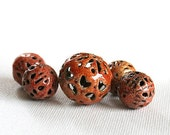 Spicy Tomato Paisley - Torch Fired Enamel Beads - Set of 5