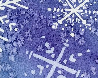 Snowflakes 10 - Original Watercolor Painting - ACEO